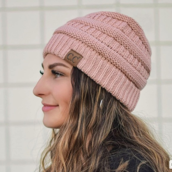 CC Soft Knit Pink Ponytail (Messy Bun) Beanie 5376081525d5